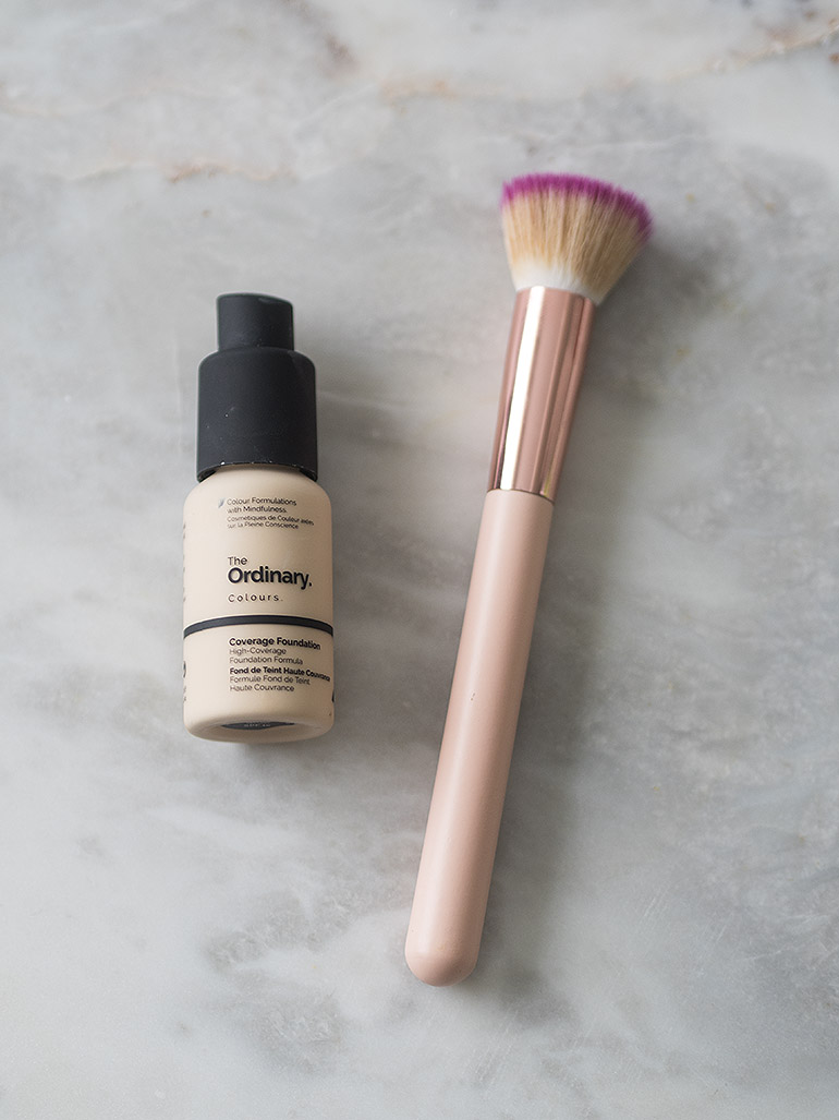 The Ordinary Full Coverage Foundation Revlon brush